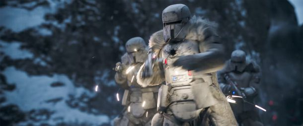Range Troopers engaging Han and friends during the train heist