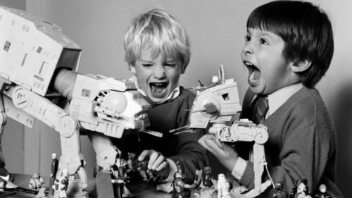 Kids play with Star Wars toys