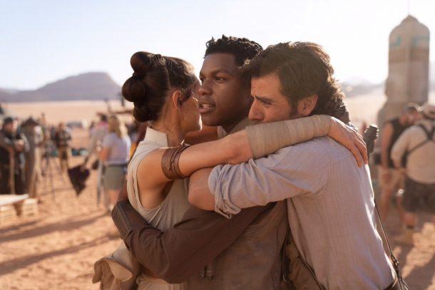 Daisy Ridley, John Boyega and Oscar Isaac on set of Episode IX
