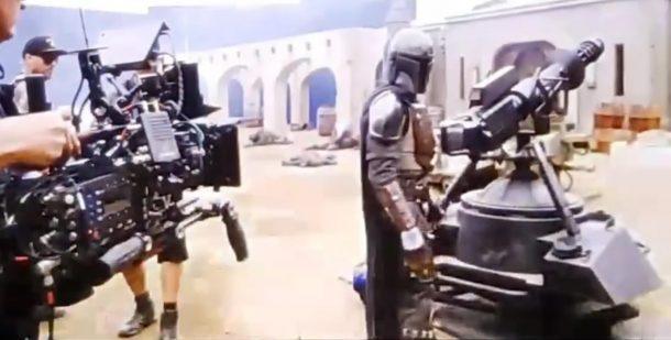 Pedro Pascal on set