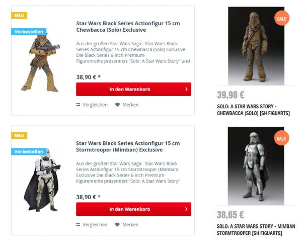 Black Series and SH Figuarts prices