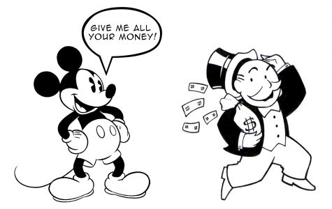 Mickey Mouse and Rich Pennybags