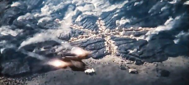 The Razor Crest on landing approach
