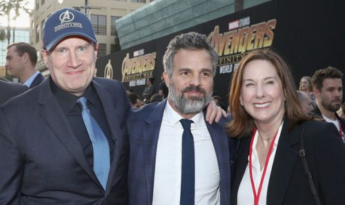 Kevin Feige and Kathleen Kennedy, with Mark Ruffalo