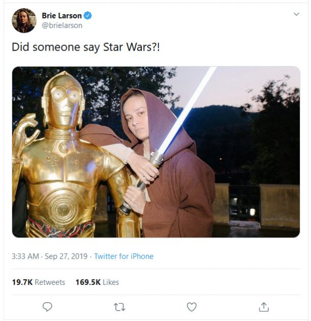 Brie Larson Star Wars Tweet