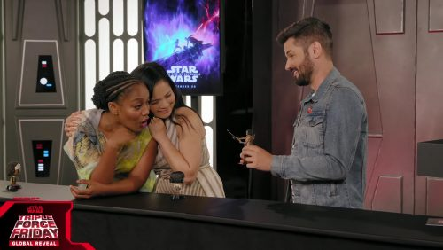 Naomie Ackie and Kelly Marie Tran With Star Wars Black Series Figure