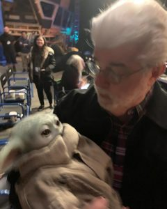 Baby Yoda and George Lucas