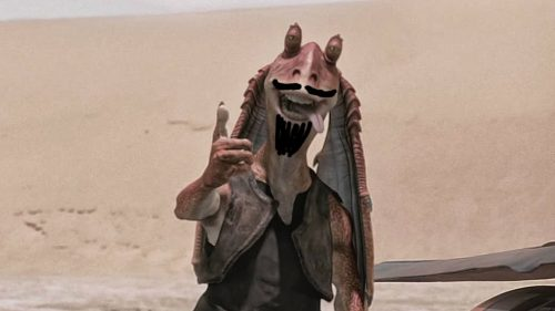 Jar Jar Binks with beard