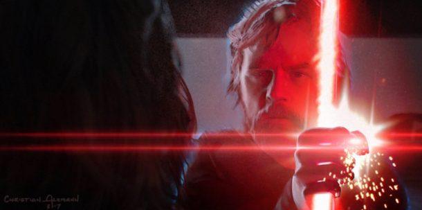 Luke Skywalker blocks Kylo Ren's lightsaber