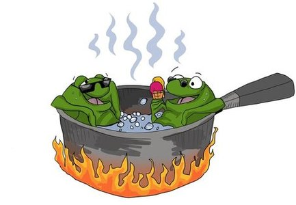 Frogs in boiling water
