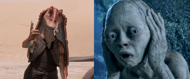 CGI Jar Jar and Gollum