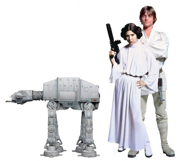 1/18 scale AT-AT next to Mark and Carrie