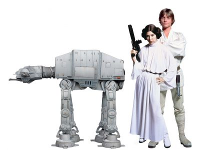 1/18 scale mockup of AT-AT next to Luke and Leia