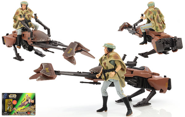Speeder Bike (With Princess Leia Organa In Endor Gear) - POTF2 [Green/Freeze Frame] - Vehicles